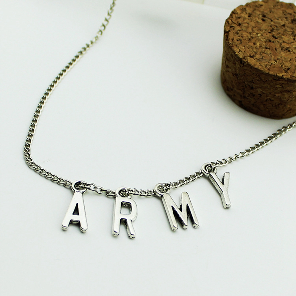 LMIKNI BTS Kpop ARMY Necklace Women Men Jewelry Collier