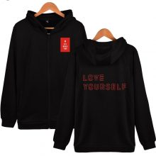 BTS Love Yourself K-pop Fashion Zipper Hoodies Sweatshirt Women/Men 2018 New Arrive Casual Hooded Women Streetwear Clothes 4XL