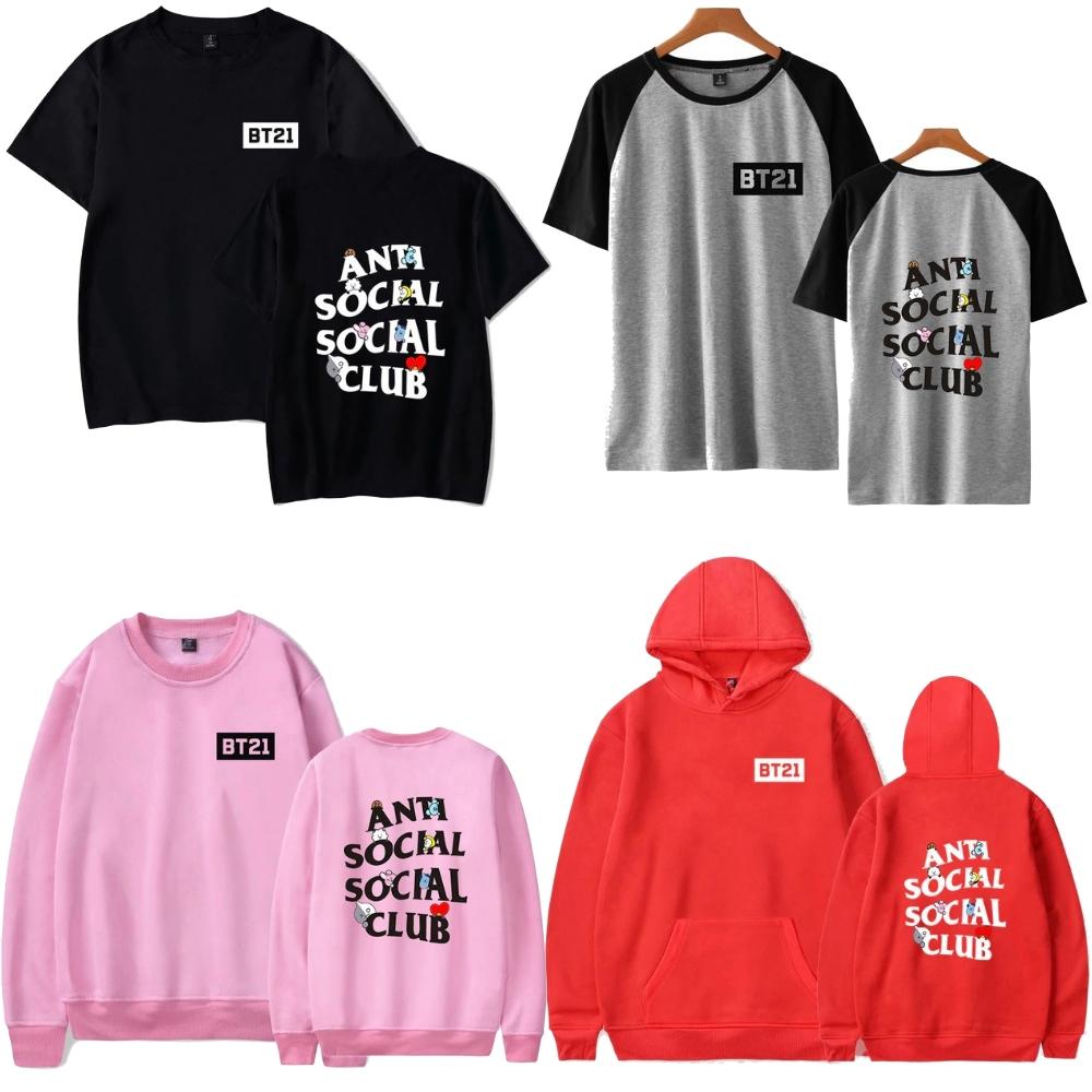 a1e66b22c4b9b BTS BT21 Anti Social Club T-Shirts Sweatshirts Hoodies (24 Models)