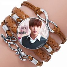 EJ Glaze Vintage Jewelry With Glass Cabochon Multilayer Black/Brown Leather Bracelet Bangle For Girls Gifts BTS Wings Teaser