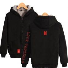BTS Love Yourself Thicken Zipper Hoodies Sweatshirts Fashion Warm Thicken Hoodie Sweatshirt K-pop New Style Korea Fan Sweatshirt