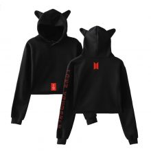 BTS Love Yourself K-pop Cute Cat Ears Women Hoodies Sweatshirts 2019 Bangtan Boys New Style Sexy Navel Cat Ears Hoodies Women